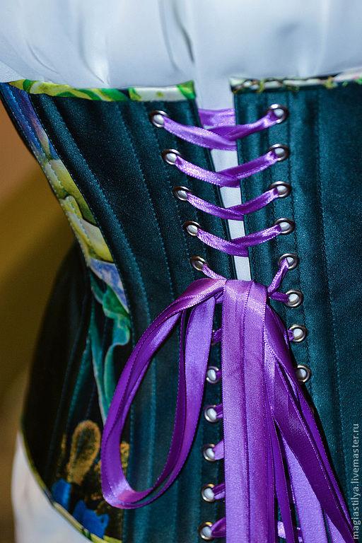 """Корсеты ручной работы. Ярмарка Мастеров - ручная работа. Купить Корсет """"Тропический дождь"""". Handmade. Морская волна, корсет с утяжкой"""