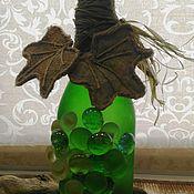 Посуда ручной работы. Ярмарка Мастеров - ручная работа Декоративная бутылка « Виноград» зеленая. Handmade.