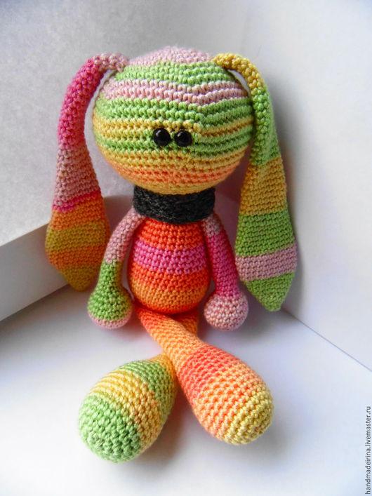 Игрушки животные, ручной работы. Ярмарка Мастеров - ручная работа. Купить Радужный зайка (вязаная игрушка). Handmade. Комбинированный, заяц