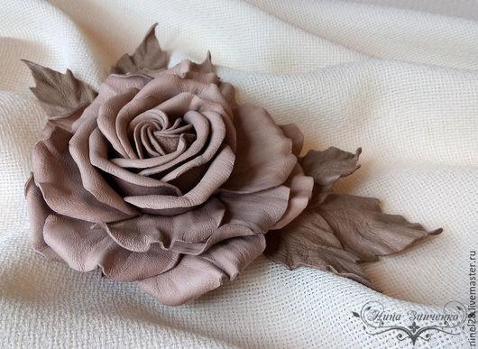 """Броши ручной работы. Ярмарка Мастеров - ручная работа. Купить Брошь из кожи """"Rose De Velours"""". Handmade. Пудровый цвет"""