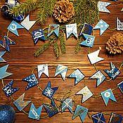 """Подарки к праздникам handmade. Livemaster - original item Гирлянда на елочку """"Синее Рождество"""". Handmade."""