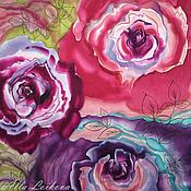 """Аксессуары ручной работы. Ярмарка Мастеров - ручная работа Шелковый платок """"Три розы"""". Handmade."""
