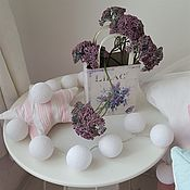 Для дома и интерьера handmade. Livemaster - original item Thai garland of thread balls, white glowing lanterns, Scandi. Handmade.