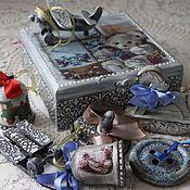 Подарки к праздникам ручной работы. Ярмарка Мастеров - ручная работа Подарочный набор новогодних деревянных ёлочных игрушек. Handmade.
