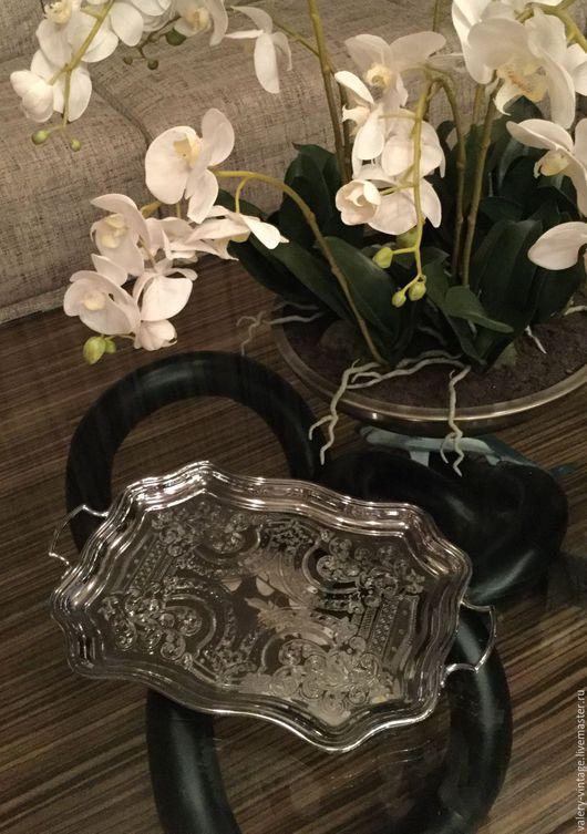 Винтажная посуда. Ярмарка Мастеров - ручная работа. Купить Винтажный поднос, серебрение, Swan Brand, Англия.. Handmade. Серебряный, ретро