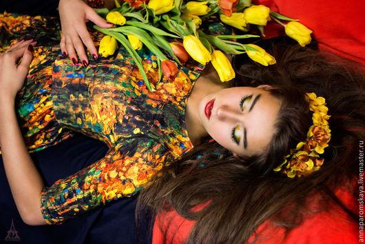 """Платья ручной работы. Ярмарка Мастеров - ручная работа. Купить Платье """"Масленые краски"""". Handmade. Длинное платье, цветы из ткани"""