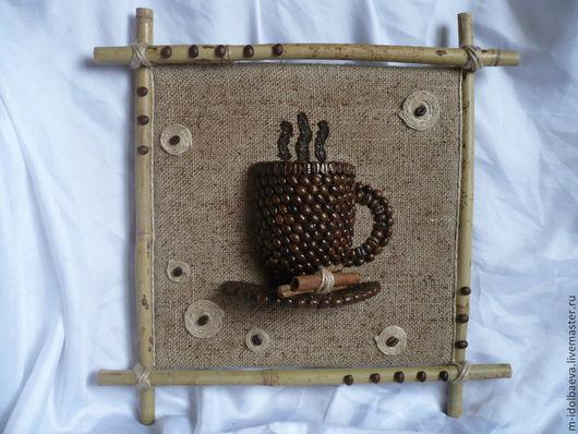 """Абстракция ручной работы. Ярмарка Мастеров - ручная работа. Купить Панно настенное объемное """"Чашка кофе"""". Handmade. Коричневый"""