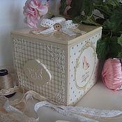 Для дома и интерьера ручной работы. Ярмарка Мастеров - ручная работа Короб  для рукоделия деревянный бежевый декупаж. Handmade.