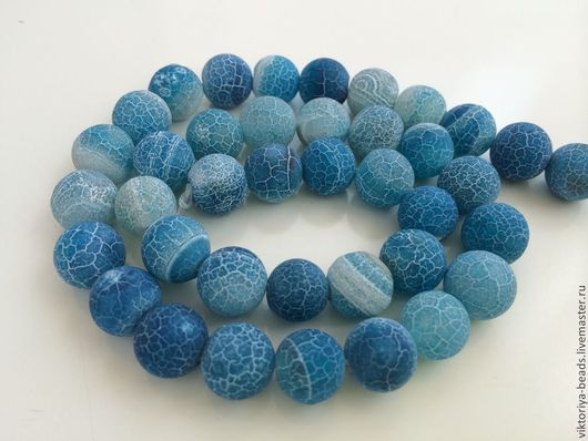 Для украшений ручной работы. Ярмарка Мастеров - ручная работа. Купить Агат кракле синий бусины 10 мм. Handmade.