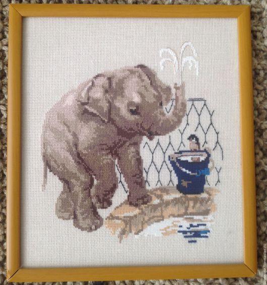 Животные ручной работы. Ярмарка Мастеров - ручная работа. Купить Слон в зоопарке. Handmade. Комбинированный, детская комната, Вышивка крестом
