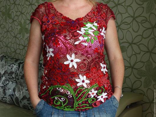 Блузки ручной работы. Ярмарка Мастеров - ручная работа. Купить Блуза Мария. Handmade. Бордовый, блузочка, милая, нарядная, тулип