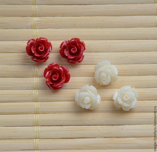 Для украшений ручной работы. Ярмарка Мастеров - ручная работа. Купить Резная роза 10 мм. Handmade. Ярко-красный