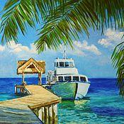 """Картины и панно ручной работы. Ярмарка Мастеров - ручная работа Картина маслом """"Путешествие на остров"""". Handmade."""