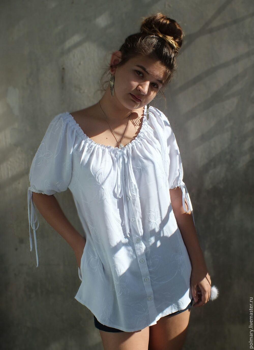 Летняя белая блузка купить