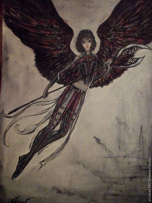 """Фэнтези ручной работы. Ярмарка Мастеров - ручная работа. Купить Репродукция картины """"Тёмный ангел"""". Handmade. Репродукция, готика"""