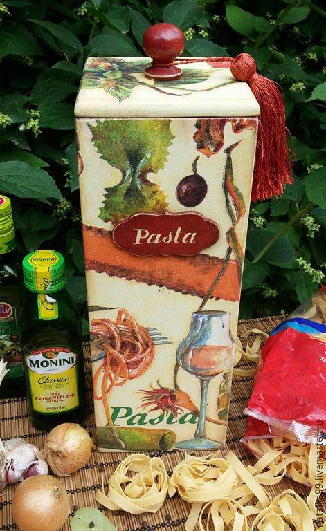 """Кухня ручной работы. Ярмарка Мастеров - ручная работа. Купить """" Pasta """" Короб для спагетти. Handmade. Разноцветный, хранение"""