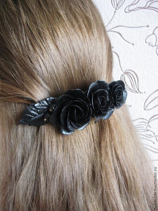 Заколки ручной работы. Ярмарка Мастеров - ручная работа. Купить Заколка автомат для волос черные розы. Handmade. Черный, розы