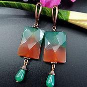 Украшения handmade. Livemaster - original item Earrings with green-brown agate