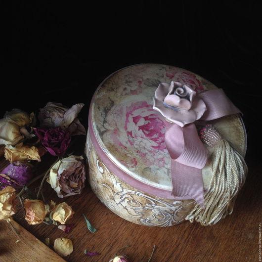 """Шкатулки ручной работы. Ярмарка Мастеров - ручная работа. Купить """"Rose romance"""" Большая круглая шкатулка.. Handmade. Комбинированный, для украшений"""