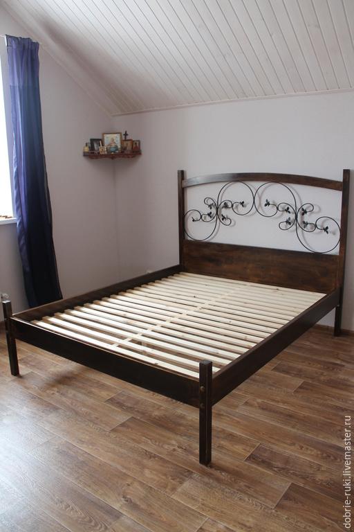 Мебель ручной работы. Ярмарка Мастеров - ручная работа. Купить Двуспальная кровать с кованными элементами. Handmade. Коричневый, кровать, для спальни