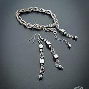 """Украшения ручной работы. Ярмарка Мастеров - ручная работа Комплект """"Гематиты"""" браслет и длинные серьги. Handmade."""