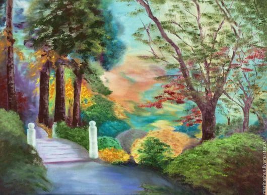 Яркая картина. Мастихин. Картина маслом на холсте. Ручная работа. Зеленый, голубой, бирюзовый, фиолетовый, желтый, оранжевый, красный.