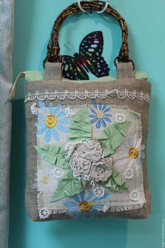 """Женские сумки ручной работы. Ярмарка Мастеров - ручная работа. Купить сумка из льна """"Цветочки"""". Handmade. Бежевый, вязанные цветы"""