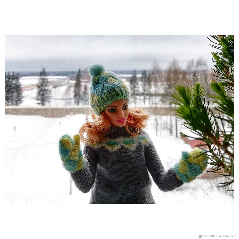 варежки и шапочка для Барби, Одежда для кукол, Сыктывкар,  Фото №1