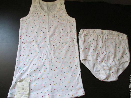 Одежда. Ярмарка Мастеров - ручная работа. Купить Комплект белья  для девочки. Хлопок.. Handmade. Комбинированный, детское платье, майка