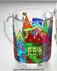 Кружки и чашки ручной работы. Ярмарка Мастеров - ручная работа. Купить кружки домики. Handmade. Подарок, краски
