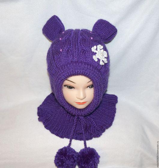 Шапки ручной работы. Ярмарка Мастеров - ручная работа. Купить Вязаная зимняя  шапка-шлем для девочки. Handmade. Шапка шлем