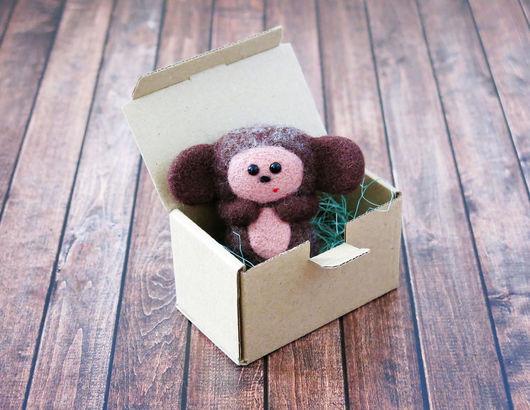 Сказочные персонажи ручной работы. Ярмарка Мастеров - ручная работа. Купить Чебурашка (сувенирная игрушка из шерсти). Handmade. Чебурашка