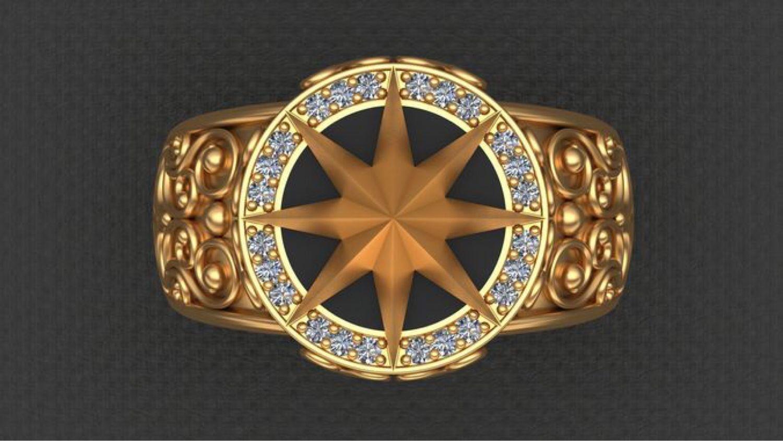 Перстень «Роза ветров» -2 из серебра, Перстень, Москва,  Фото №1