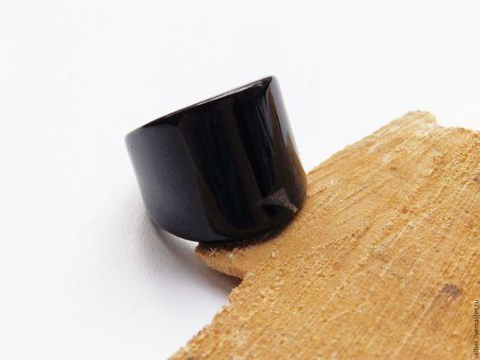 Кольца ручной работы. Ярмарка Мастеров - ручная работа. Купить Кольцо из агата Акцент 15.6 размер. Handmade. Черный
