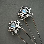 Украшения ручной работы. Ярмарка Мастеров - ручная работа серебряные шпильки парные с адулярами. Handmade.