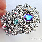 Украшения handmade. Livemaster - original item Soutache bracelet bangle jewelry Avalanches.Bracelet with crystal.. Handmade.