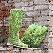 """Обувь ручной работы. Ярмарка Мастеров - ручная работа Валенки и сумка """"Шепот трав"""". Handmade."""