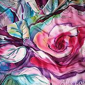 """Аксессуары ручной работы. Ярмарка Мастеров - ручная работа Атласный платок """"Роза"""". Handmade."""