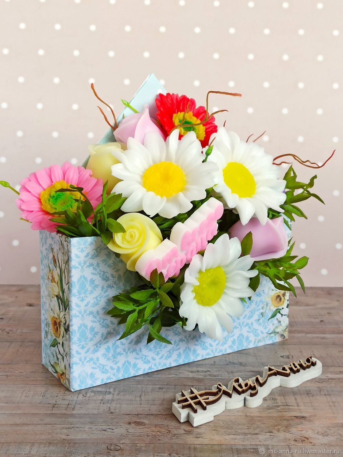 Gerberas, daisies, roses Bouquet of soap in an envelope, Soap, Rossosh,  Фото №1
