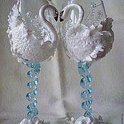 Свадебный салон ручной работы. Ярмарка Мастеров - ручная работа Фужеры свадебные Лебединая верность. Handmade.
