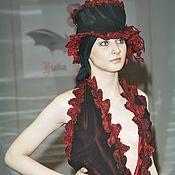 Одежда handmade. Livemaster - original item A_042 Dress double black chiffon with Burgundy. Handmade.