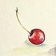 Натюрморт ручной работы. Ярмарка Мастеров - ручная работа. Купить Одна ягодка Черешни  Картина акварель 10х10см. Handmade. Лето