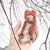 Куклы и игрушки ручной работы. Ярмарка Мастеров - ручная работа 14 см - лесной Монти в вязанной шапочке -мишка тедди. Handmade.