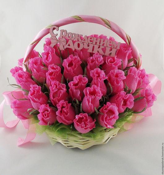 """Букеты ручной работы. Ярмарка Мастеров - ручная работа. Купить Корзина из 45 бутонов роз с Рафаэлло """"Розовый сад"""". Handmade."""