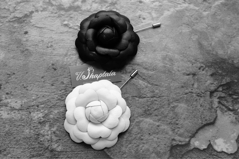 Камелия из кожи, Брошь-булавка, Омск,  Фото №1