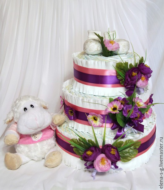 """Подарки для новорожденных, ручной работы. Ярмарка Мастеров - ручная работа. Купить Торт из памперсов """"Розовая мечта"""". Handmade. Розовый, новорожденному"""