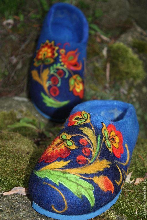 Обувь ручной работы. Ярмарка Мастеров - ручная работа. Купить Тапочки « Русский стиль» хохлома. Handmade. Валяные тапочки
