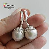 Украшения handmade. Livemaster - original item Earrings silver 925, pearls 16mm! Kasumi like. Handmade.