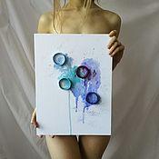 handmade. Livemaster - original item Panel painting abstract circles 30h40. Handmade.