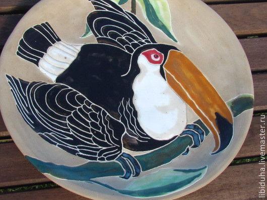 """Тарелки ручной работы. Ярмарка Мастеров - ручная работа. Купить Тарелка """"Тукан"""". Handmade. Тарелка декоративная, птица, тарелка в подарок"""